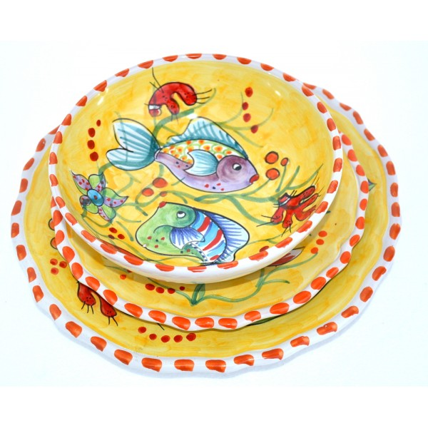Set Dishes Fishes yellow