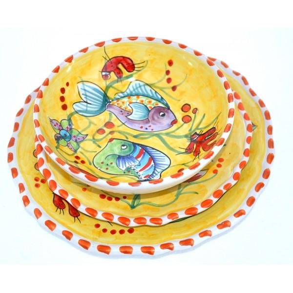 Set Piatti Pesci Giallo