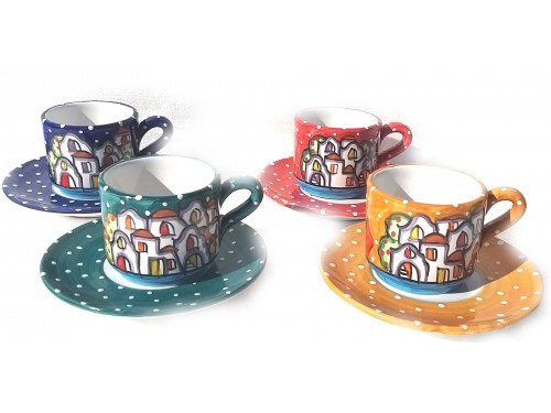 Set 4 Cups + Saucers Houses