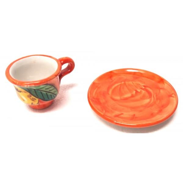 Tazzina caffè con piattino Limoni arancione