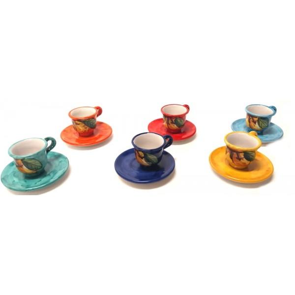 Set tazzine caffè con piattino Limoni (6 persone)