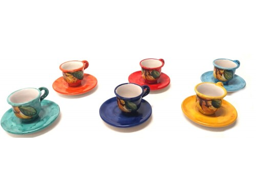 Set 6 Espresso Cup & Saucer Lemon