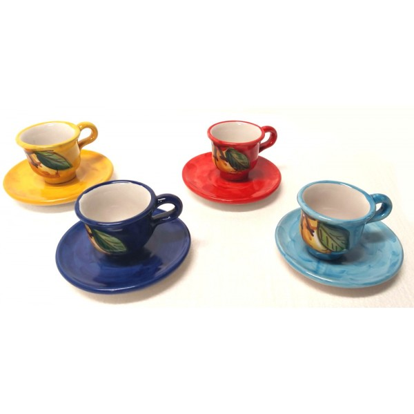 Set tazzine da caffè con piattino Limoni (4 persone)