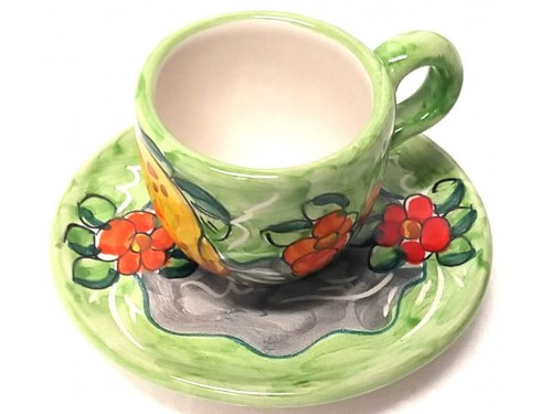 Espresso Cup & Saucer Lemon Flowers green