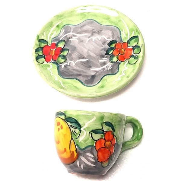 Espresso Cup & Saucer Lemon Flowers green