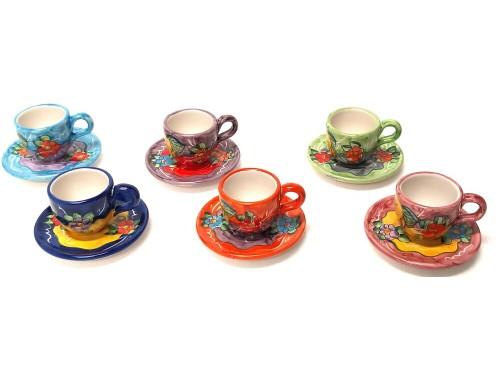 Set tazzina caffè con piattino limoni e fiori (6 persone)