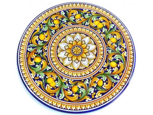 Tavolo Barocco Blu con Limoni (da 70 a 120 cm)