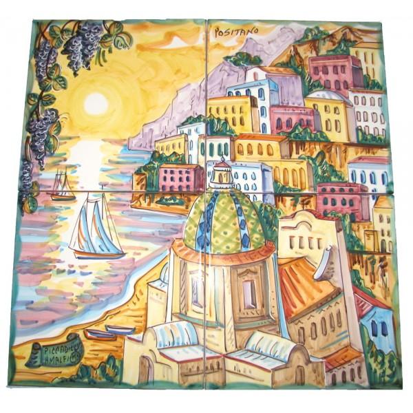 Set 4 mattonelle Positano al tramonto