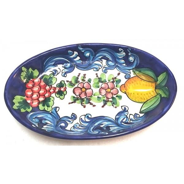 Oval Plate Lemon Barocco Blue