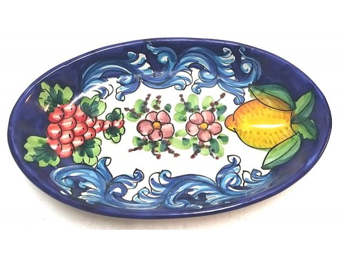 Oval Plate Lemon Barocco Blue
