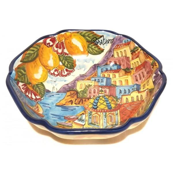 Round Scalopped Bowl Positano Blue