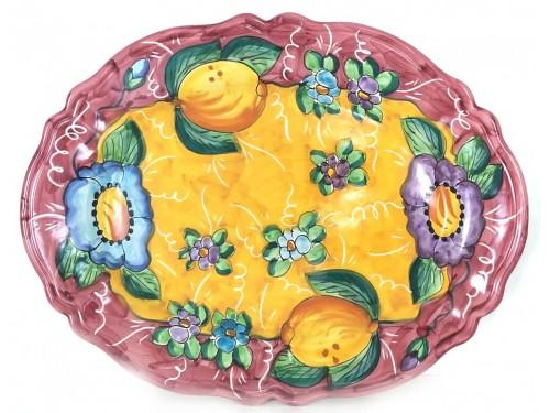 Piatto Ovale Limoni fiori 1