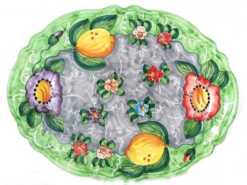 Piatto Ovale Limoni fiori 2