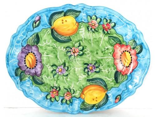 Piatto Ovale Limoni fiori 3