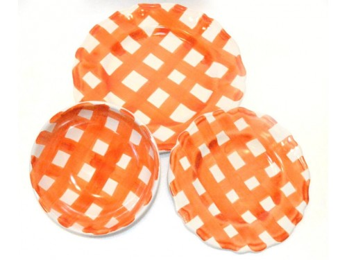 Set Dishes Crossed Lines orange