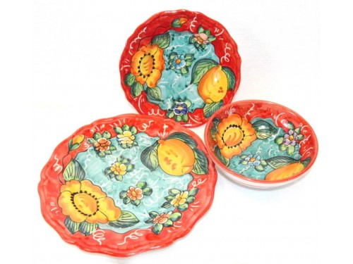 Set Dishes Flower Red-Green