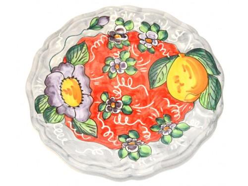 Piatto Frutta Limoni e fiori grigio