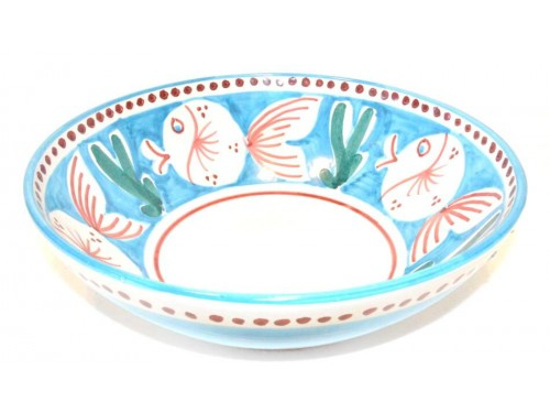 Round Bowl Light Blue Fishes