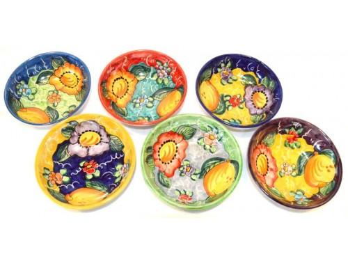 Set 6 soupbowls lemon - flower