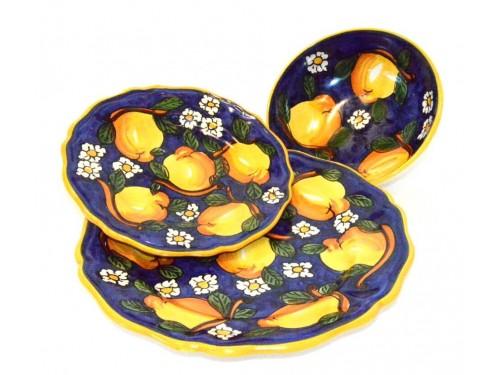 Set Piatti Limoni e Margherite blu