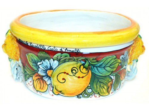 Oval Planter Pot Lemon Red