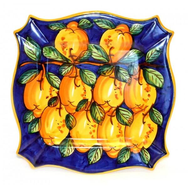 Piatto Quadrato Limoni Blu