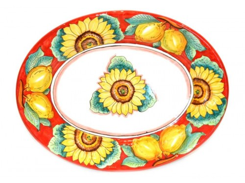 Oval Plate Sunflower Red