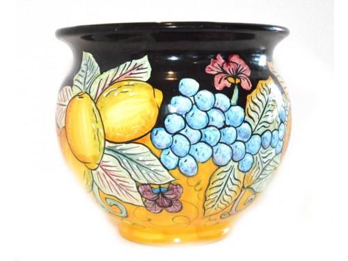 Porta fiori Frutta Mista nero e giallo