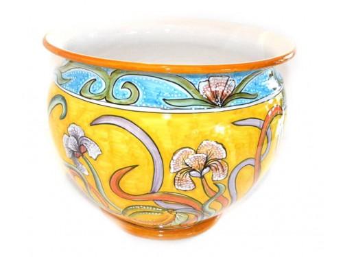 Porta fiori iris e limoni (blu - giallo)