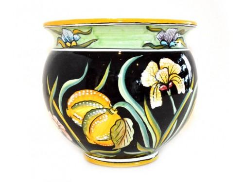 Plant Pot Iris Lemon Black