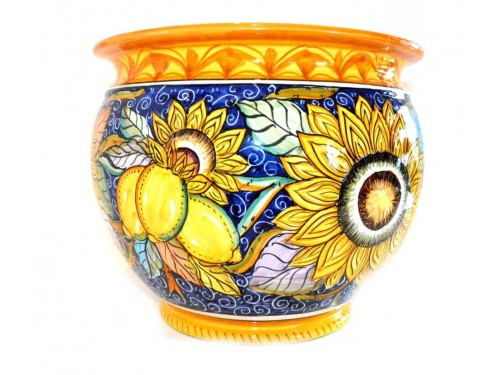 Plant Pot Sunflower Blue