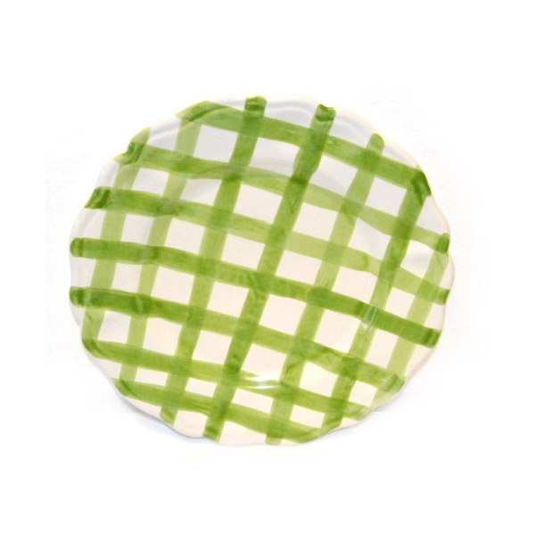 Dinner Plate Green crossed lines