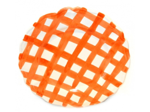 Dinner Plate Orange crossed lines