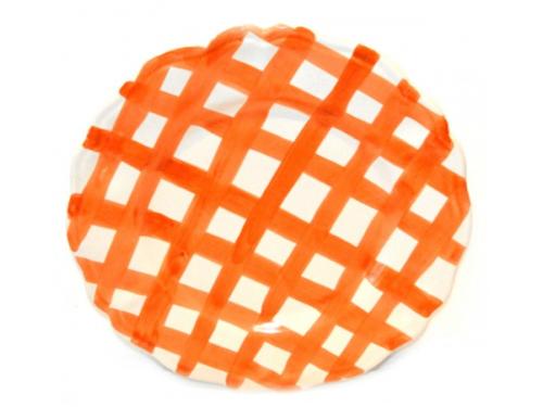 Dinner Plate Orange crossed lines