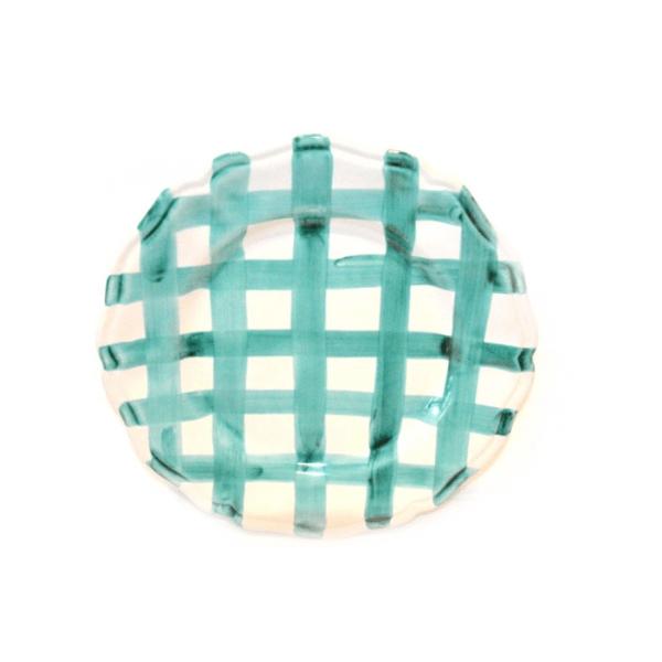 Dinner Plate Aquamarine crossed lines