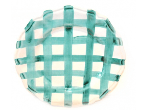 Dinner Plate Aquamarine crossed lines