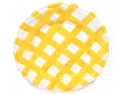 Salad Plate yellow crossed lines