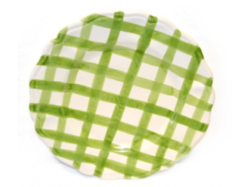 Salad Plate green crossed lines