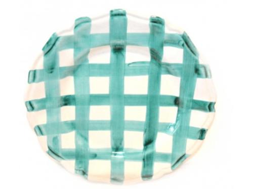Salad Plate acquamarine crossed lines