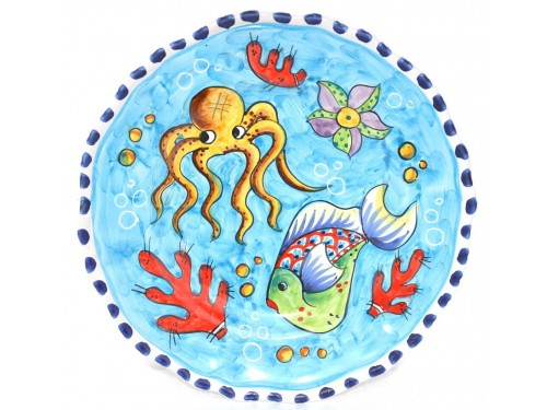 Dinner Plate Fishes light blue