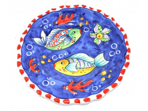 Salad Plate Fishes Blue