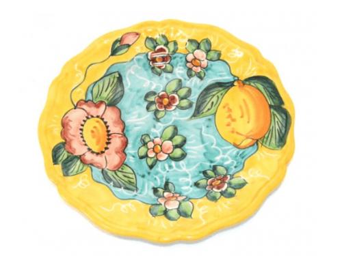 Piatto Frutta Limoni e fiori giallo