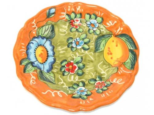 Salad Plate Lemon / Flowers orange