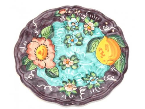 Salad Plate Lemon / Flowers purple
