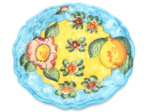 Piatto Frutta Limoni e fiori celeste