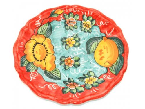 Piatto Frutta Limoni e fiori rosso
