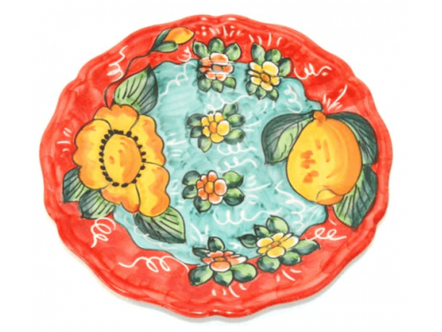 Dinner Plate Lemon / Flowers red
