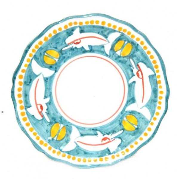 Dinner Plate shark aqua marine