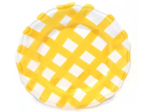 Dinner Plate yellow crossed lines
