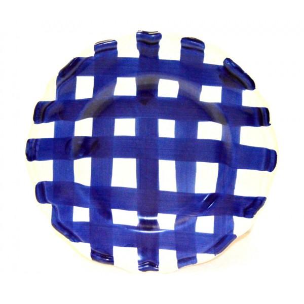 Dinner Plate Blue crossed lines